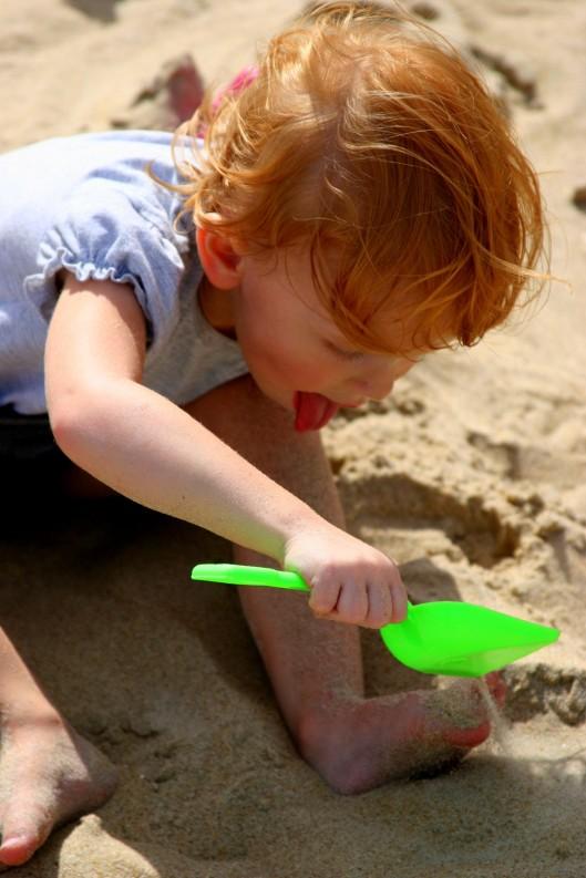 Good sand-castle building requires a dexterous tongue!