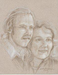 Drawing of Ashley's & Paula's Engagement Photo, 1975 ©Ashley M. Calhoun 2014