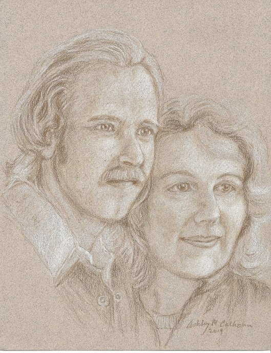 Drawing of Ashley's & Paula's Engagement Photo, 1975 ©Ashley M. Calhoun 2014