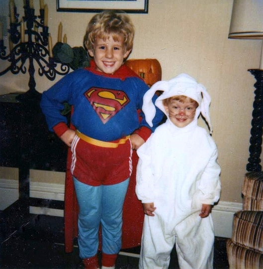"Our ""Superman"" Joshua and ""Bunny Rabbit"" Matt, Halloween 1982"